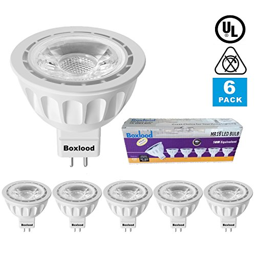6 Pack MR16 LED Light Bulb, 90% Energy Saving, 3000K Warm White, 40 degree, AC/DC 12V, 5 Watts, 50W Halogen Bulb Equivalent, GU5.3 Base, by Boxlood (Spot Ac 12v)