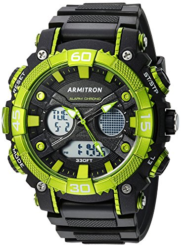 Armitron Sport Men's 20/5108GRN Green Accented Analog-Digital Chronograph Black Resin Strap Watch