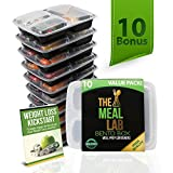 [BONUS-PACK] Leak-Proof 3 Compartment Meal Prep Food Storage Containers with Lids - BPA Free Microwave & Dishwasher Safe Bento Lunch Box - Portion Control Plates for 21 Day Fix + FREE eBook