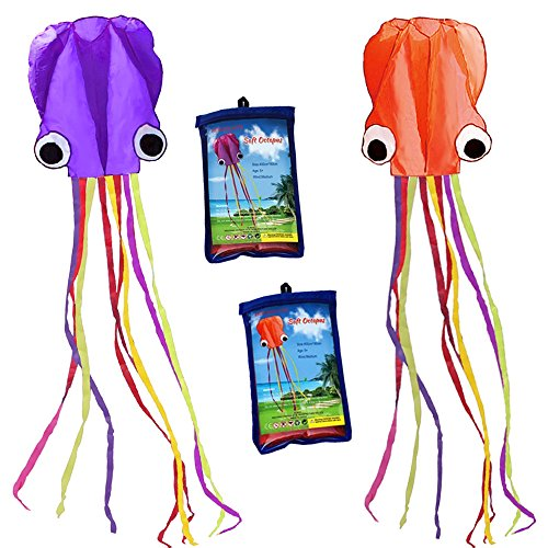 Hengda kite-Pack 2 Colors(Orange&Purple) Beautiful Large Easy Flyer Kite for Kids-Software Octopus-It's Big! 31 Inches Wide with Long Tail 157 Inches Long-Perfect for Beach or Park ()
