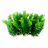 "Uotyle Green Artificial Plastic Plants Set Aquarium Decor Fish Tank Ornament 12"" Tall Pack of 10"