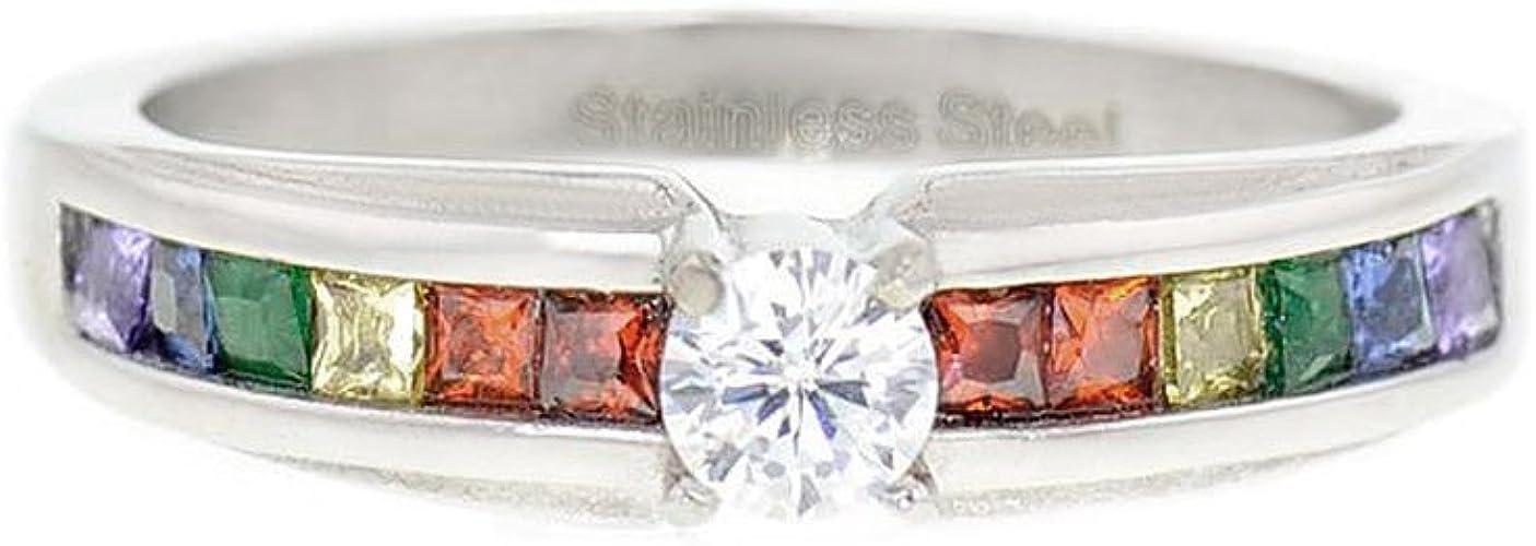 FlameReflection 6mm Black Titanium Gay Lesbian Engagement Ring Wedding Band Rainbow CZ Eternity Band Size 5-13 SPJ
