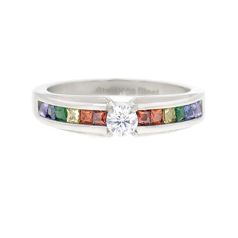 lesbian pride rainbow ring round cz center stone