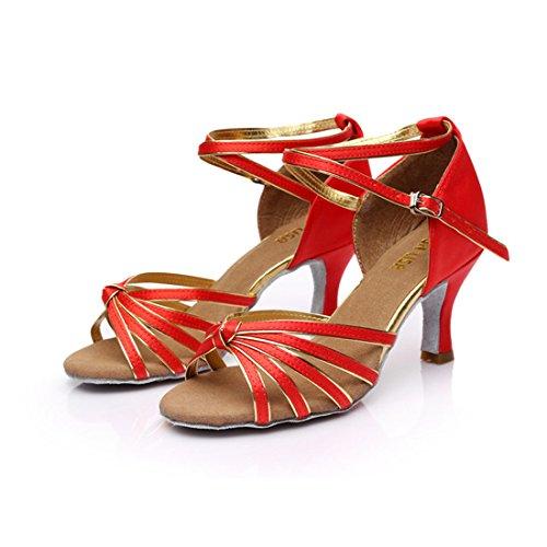 Tanzschuhe Ballsaal Schuhe 7cm DorkasDE 7cm G Tanzschuhe Tanz Latein mit Rot 5 Mädchen Latein Absatz Absatz Damen w88qPXpI
