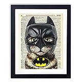 Bat Cat Superhero Upcycled Wall Art Vintage Dictionary Art Print 8x10 inches / 20.32 x 25.4 cm Unframed