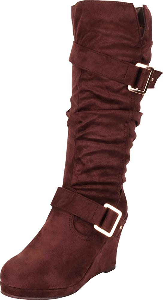 Brown Imsu Cambridge Select Women's Strappy Chunky Wedge Mid-Calf Boot