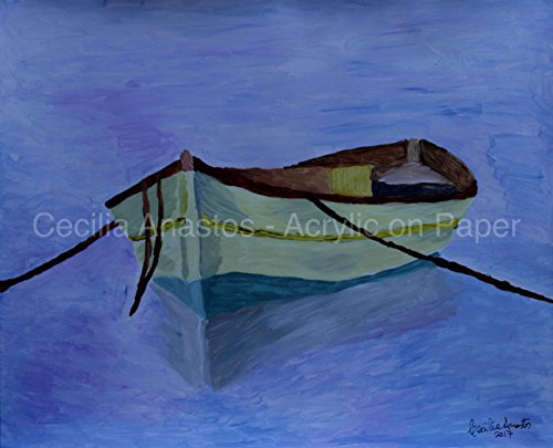 Calm Framed - Ize Boat (2017) - Row boat in calm waters. 20 x 16 with black framed ready to hang. Handmade by USA Artist.