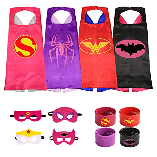 The Mass 4 Different Superheros Cape and Mask Costumes Set Includes Bonus Matching Wristbands for Kidsress Up Costumes 4 Satin Capes with Felt Mask Matching Wristbands for Kids -