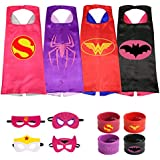 The Mass 4 Different Superheros Cape and Mask Costumes Set Includes Bonus Matching Wristbands for Kidsress Up Costumes 4 Satin Capes with Felt Mask Matching Wristbands for Kids