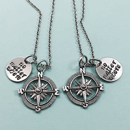Friendship Quotes Jewelry: Amazon.com: Best Friend Necklace, No Matter Where, Compass