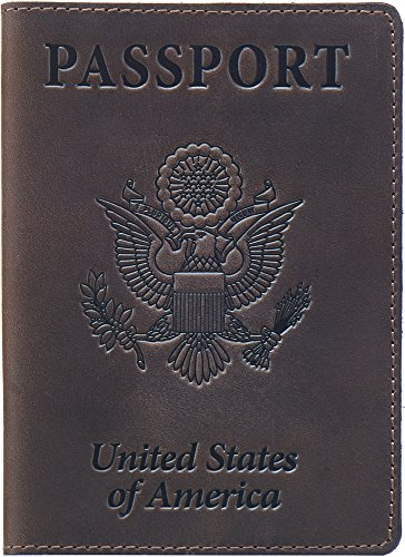 Passport Leather Holder - Shvigel Leather Passport Cover - Holder - for Men & Women - Passport Case (Brown Vintage)