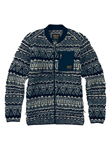 Burton Men's Grove Full-Zip Fleece, Mood Indigo Jacquard, Medium Burton Mens Lightweight Fleece