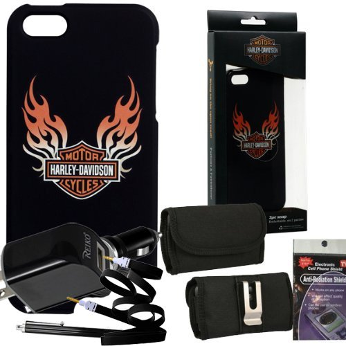 Harley-Davidson-Black-Flames-Cover-07455-for-iPhone-5s-5-Comes-with-3ft-aux-Cable-USB-Car-Charger-USB-House-Charger-Metal-Clip-Horizontal-Velcro-Case-with-Belt-Loop-Stylus-Pen-and-Radiation-Shield