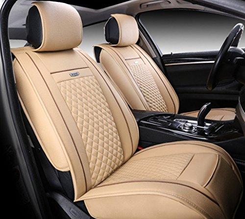Moonet Universal 6PCS Full Set Needlework PU leather Front Rear Car Seat Cushion Cover Beige