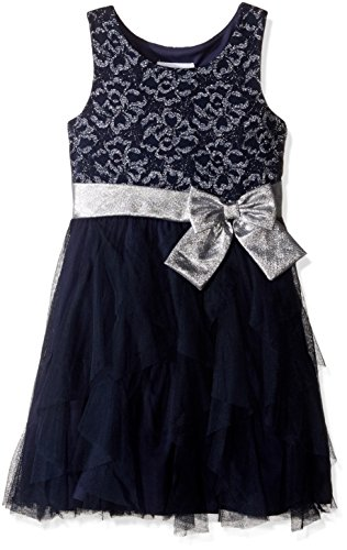 Bonnie Jean Big Girls' Chiffon Cascade, Navy, 14
