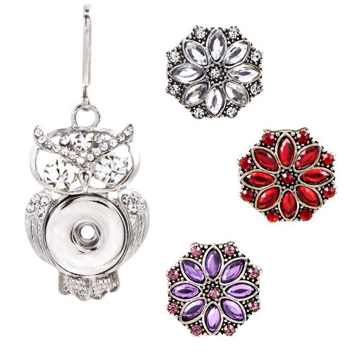 (Ascrafter Bling Rhinestone Owl Zipper Pulls Charm with 3 Snap Buttons for Luggage, Purses, Wallet & More )