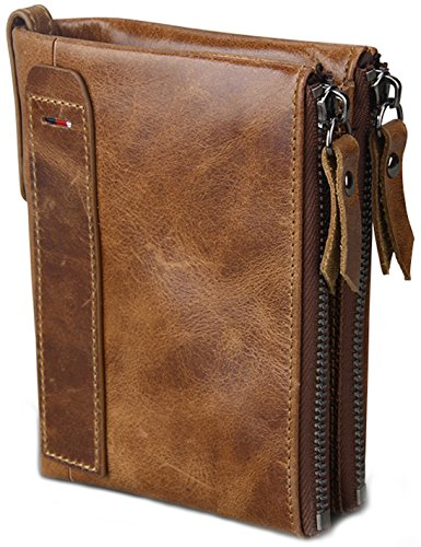 Box Top Wallet - Men's RFID Blocking Crazy Horse Leather ID Window Zipper Coin Pocket Bifold Wallet, Come with Free Keychain and Gift Box, Brown, b2w004br