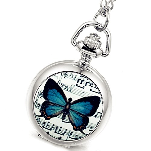 Women's Girl's Pocket Watch Beautiful Butterfly Silver Quartz Sweater Necklace with Chain, Valentines Day Gift