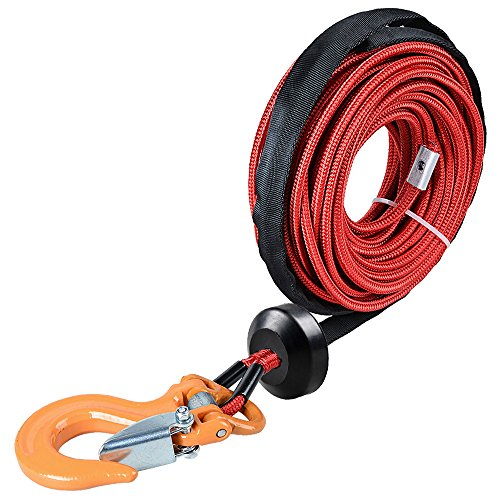 Astra Depot 50' x 1/4 RED 7000lbs Strong Synthetic Winch Rope Rock and All Heat Guard + Rubber Stopper + Yellow Heavy Duty Half-Linked Hook for Truck ATV UTV KFI