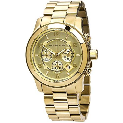 Michael Kors MK8077 Men's Runaway Analog Display Chronograph Quartz Watch, Gold Stainless Steel Bracelet, Round, 45mm Case