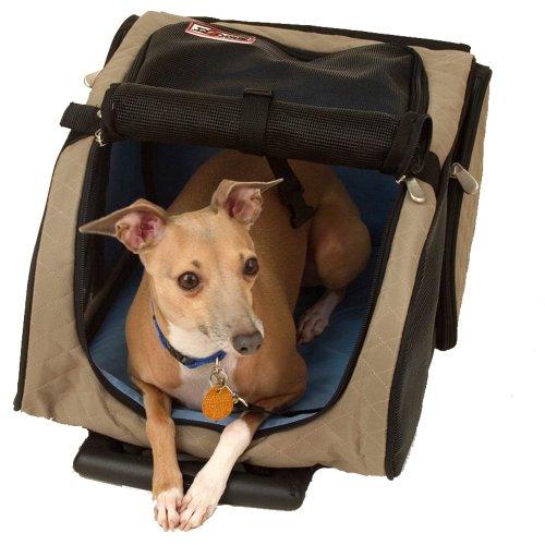 Cheap Snoozer Roll Around 4-in-1 Pet Carrier, Khaki, Black & Blue, Medium