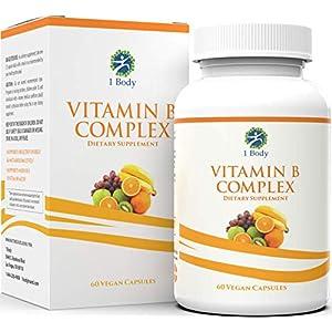 Gut Health Shop 51J9xT1HfPL._SS300_ Vitamin B Complex – 5-MTHF Folate with B1, B2, B5, B6, Methyl B12, Niacin, Biotin – Wide Range of Benefits for Stress…