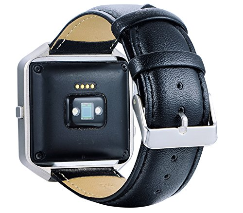 KingBaas Compatible Fitbit Blaze Bands, Premium Genuine Leather Watch Band with Stainless Steel Frame Compatible Fitbit Blaze/Fitbit Blaze Band,Black,Brown,Blue (No Tracker)