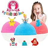 Kids Bubble Natural Bath Bombs Gift Set with Surprise Toys Inside for Kids 3-6.5oz XL Luxury Lush Organic Bath Fizzies Lavender for Teen Girls and Boys Best Brithday Gift Set by Great Home
