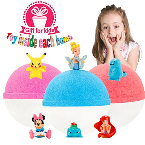 Kids Bubble Natural Bath Bombs Christmas Days Gift Set with Surprise Toys Inside for Kids 3-6.5oz XL Luxury Organic Bath Fizzies for Girls and Boys(Christmas Promotion Week) ()