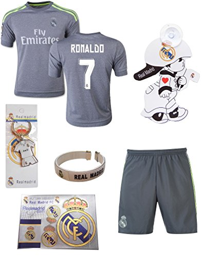 9dc2862e3 iSport Gifts® Real Madrid Away Grey Ronaldo  7 Kids Soccer Jersey and Shorts  6