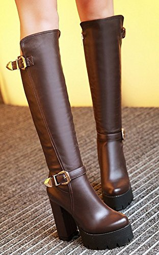 Aisun Womens Cool Round Toe Buckle Strap Side Zipper Dress Platform Stacked High Heel Knee High Tall Boots Brown HkQPqJK