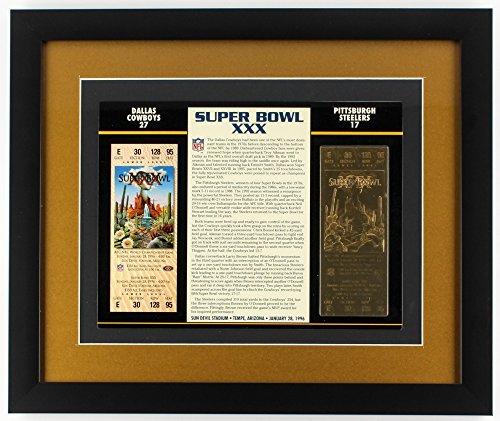 Commemorative Super Bowl XXX 16x19 Custom Framed Score Summary Display with Gold Ticket Dallas Cowboys vs. Pittsburgh Steelers Commemorative Dallas Cowboys Super Bowl