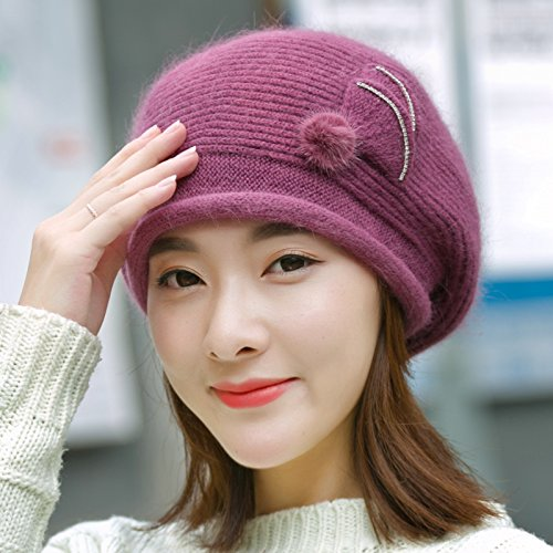 NWEC NEWC The Winter With Thick Warm Cashmere Earmuffs Knitting Wool Beret 56-58cm,Purple