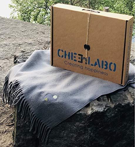 - Chelabo Soft 100% Australian Merino Wool Throw Blanket Plaid Light Breathability All Season Washable Amazing Gift Box Made in Ukraine (Grey, 55