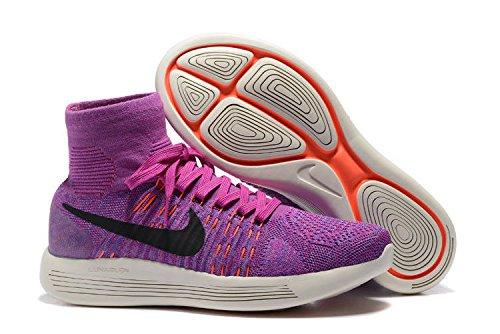 Nike Lunarepic Lav Flyknit Løpesko (10.5, Fchs Flsh / Blck-prsn Vlt-