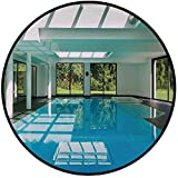 Printing Round Rug,House Decor,Indoor Swimming Pool of a Modern House with Spa Window Residential Interior Mat Non-Slip Soft Entrance Mat Door Floor Rug Area Rug For Chair Living Room,