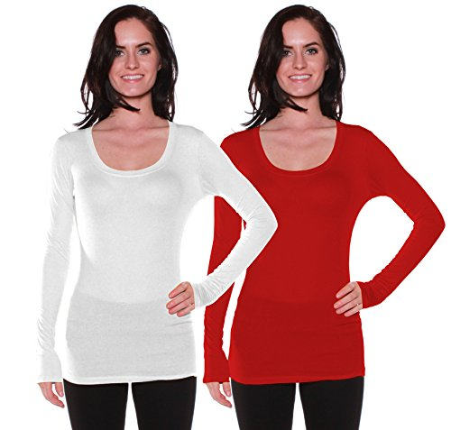 Active Basic Womens Plain Basic Scoop Neck Long Sleeves Tshirt Tee Top - 2 PK - White, Red, (Ladies Scoop Neck Tee)