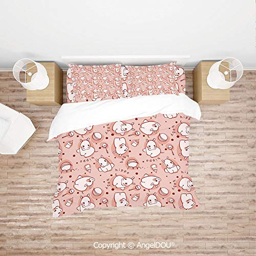 PUTIEN Durable Cotton Bedding Set (1 Duvet Covers+2 Pillowcases 1 Sheet),Cute Baby Hippo Pattern Lovely Wild Animal Girls Boys Playroom Concept,with Hidden Zipper Closure.