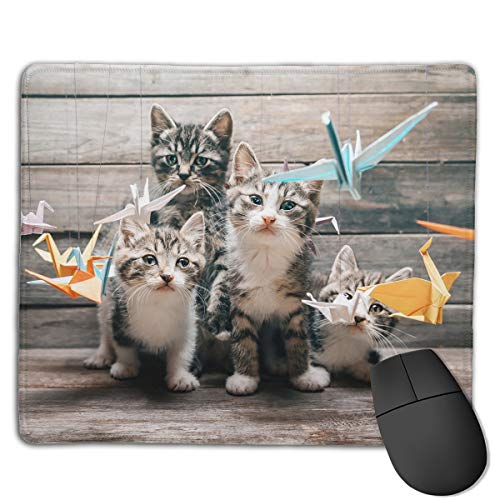 Mouse Pad Origami Crane with Cats Rectangle Rubber Mousepad 8.66 X 7.09 Inch Gaming Mouse Pad with Black Lock Edge