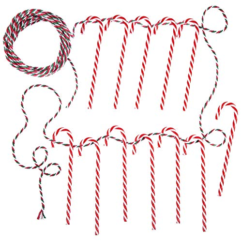 (Pangda 12 Pack Christmas Plastic Candy Canes Red and White with 10 m Cotton String 3 mm Wide for Christmas Tree Ornaments Decorations)