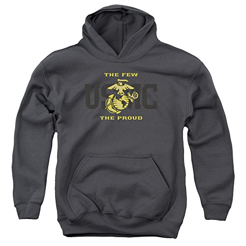 Trevco US Marine Corps Split Tag Unisex Youth Pull-Over Hoodie For Boys and Girls