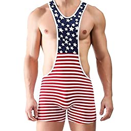 YiZYiF Men\'s One Piece American Flag Sport Bodysuit Leotard Gym Outfit Underwear Medium