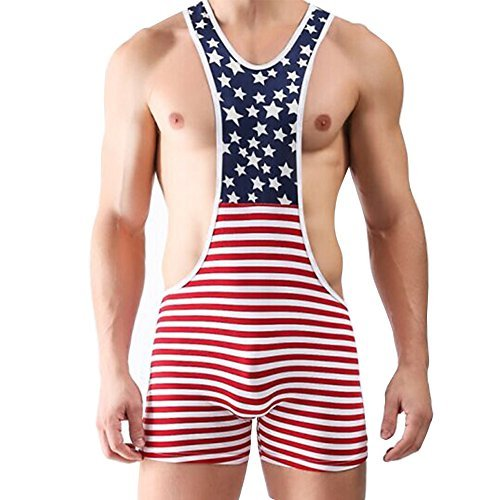 YiZYiF Men's One Piece American Flag Sport Bodysuit Leotard Gym Outfit Underwear Small
