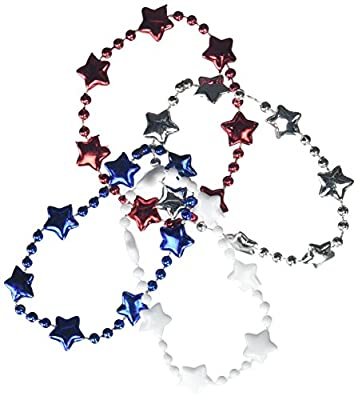 "All -American Fourth of July Patriotic Beaded Bracelets Accessory, Plastic,8"", Pack of 4"