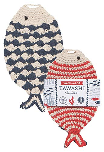 Now Designs 2012021aa Tawashi Dishcloth Scrubbers, Little Fish,