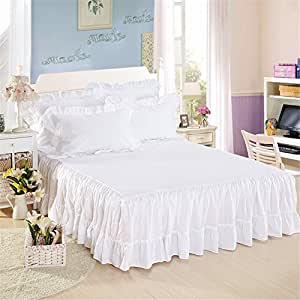 100% Cotton Ruffled Bed Skirt 17 inch Drop White Dust Ruffle with Platform White Queen