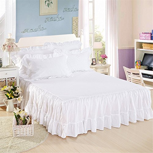 100% Cotton Ruffled Bed Skirt 17 inch Drop White Dust Ruffle with Platform White (Cotton Voile Wrap)