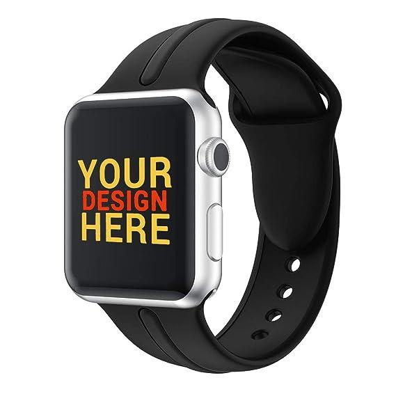 HVDHYY Adecuado para la Correa de Reloj de Apple Watch Inteligente 42 mm,Banda de Silicona Suave Pulsera de Repuesto para iWatch Series 3/2/1 L Negro: ...