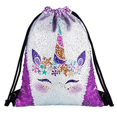 - Unicorn Gift Sequin Mermaid Drawstring Backpack Gym Dance Bags for Girls Kids Magic Reversible Flip Sequin School Bag Shoulder Travel Bags Birthday Gift for Daughter Children Women (Smile Purple)