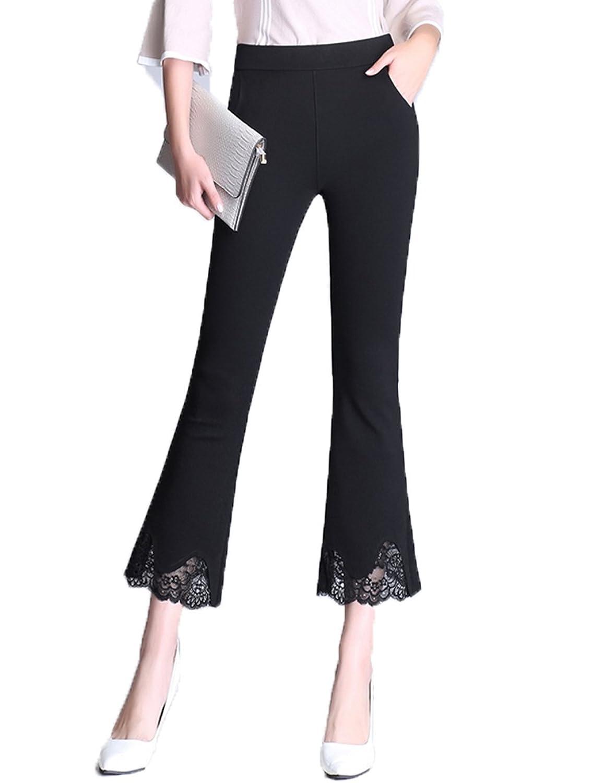 Vanrose Jan Women's Flare Pants Lace Bell Bottom Pant High Waist Black Trousers
